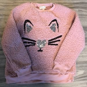 Girl's Pink Fuzzy Sequence Cat Sweatshirt, Large